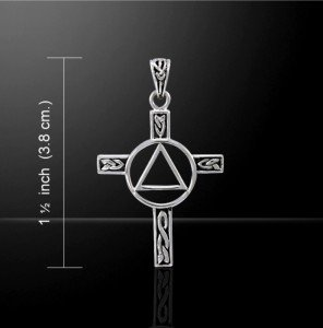 "Sterling Silver AA Celtic Cross Pendant with an 18"" Sterling Silver Snake Chain"